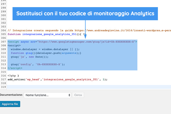 Codice Analytics su WordPress